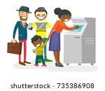 group of caucasian white  asian ...   Shutterstock .eps vector #735386908