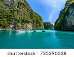 beautiful crystal clear water... | Shutterstock . vector #735390238
