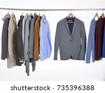 set of casual men's clothes... | Shutterstock . vector #735396388