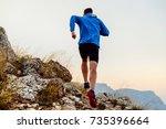 back runner man athlete running ... | Shutterstock . vector #735396664