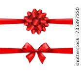 red ribbon bow set gradient... | Shutterstock .eps vector #735397330