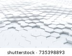 abstract white hexagonal... | Shutterstock . vector #735398893