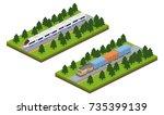 isometric 3d vector... | Shutterstock .eps vector #735399139