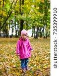 autumn fall outdoor portrait of ... | Shutterstock . vector #735399910