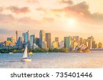 downtown sydney skyline in... | Shutterstock . vector #735401446