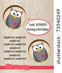 cute owl birthday card | Shutterstock .eps vector #73540249