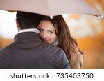 young couple man and woman... | Shutterstock . vector #735403750