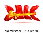 illustration of sale wrapped in ribbon on white background - stock vector