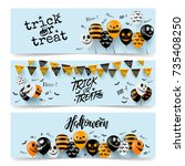halloween banner with halloween ... | Shutterstock .eps vector #735408250
