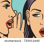 beautiful woman whispering... | Shutterstock .eps vector #735411640