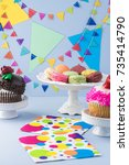 close up of birthday decorated... | Shutterstock . vector #735414790