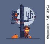 halloween greeting card  pixel...   Shutterstock .eps vector #735415603