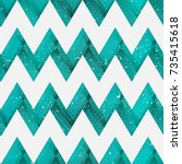 coral color zigzag seamless... | Shutterstock .eps vector #735415618