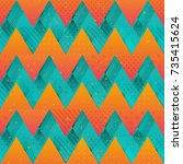 colored zigzag seamless texture | Shutterstock .eps vector #735415624