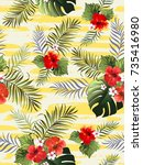 seamless hand drawn  exotic... | Shutterstock .eps vector #735416980