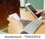 close up of people hands...   Shutterstock . vector #735423913