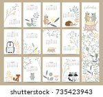 colorful cute monthly calendar... | Shutterstock .eps vector #735423943
