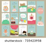 colorful cute monthly calendar... | Shutterstock .eps vector #735423958