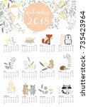 colorful cute monthly calendar... | Shutterstock .eps vector #735423964