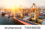 container container ship in... | Shutterstock . vector #735430030