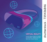 virtual reality neon poster | Shutterstock .eps vector #735436846
