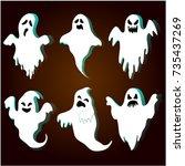 halloween ghosts set with... | Shutterstock .eps vector #735437269