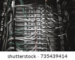 server rack with servers and... | Shutterstock . vector #735439414