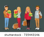 young people with christmas... | Shutterstock .eps vector #735443146