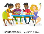 multiethnic group of young... | Shutterstock .eps vector #735444163