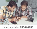 the guy and the man examine the ... | Shutterstock . vector #735444238
