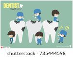 dentists check up your teeth... | Shutterstock .eps vector #735444598