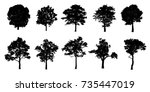 trees silhouette black on a... | Shutterstock . vector #735447019