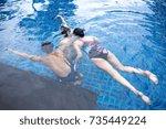 group of friends taking selfie... | Shutterstock . vector #735449224