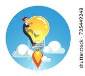 visionary genius business man... | Shutterstock .eps vector #735449248