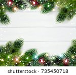 christmas frame template with... | Shutterstock .eps vector #735450718