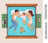sleeping family lying on bed... | Shutterstock .eps vector #735450796