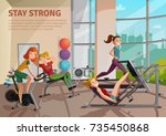girls doing fitness on... | Shutterstock .eps vector #735450868