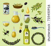 green and black olives healthy... | Shutterstock .eps vector #735450916