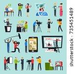 creating news  set of...   Shutterstock .eps vector #735451489