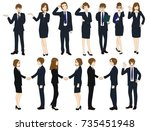 set cartoon business people... | Shutterstock .eps vector #735451948