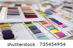 colorful fabric and thread... | Shutterstock . vector #735454954
