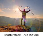 tourist with  forearm crutch... | Shutterstock . vector #735455908