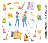 cleaning service decorative... | Shutterstock .eps vector #735457054