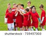 kids soccer football   young... | Shutterstock . vector #735457303