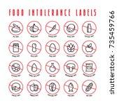 diet labels  food intolerance... | Shutterstock .eps vector #735459766