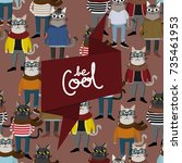 hipster cat seamless pattern... | Shutterstock .eps vector #735461953