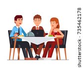 business client meeting at... | Shutterstock .eps vector #735462178