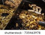 street food festival. grilled... | Shutterstock . vector #735463978