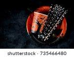 crockery for halloween   glass  ... | Shutterstock . vector #735466480