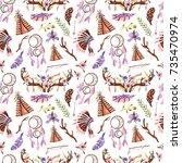 seamless pattern in boho style. ... | Shutterstock . vector #735470974